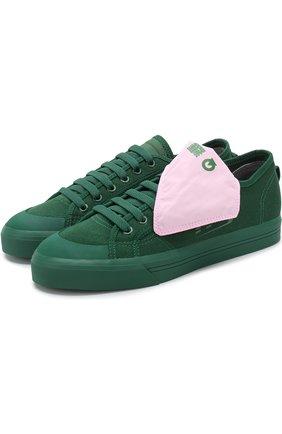 Текстильные кеды Spirit на шнуровке adidas by Raf Simons зеленые | Фото №1