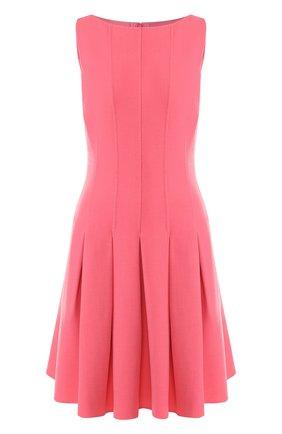 Однотонное приталенное мини-платье из шерсти Oscar de la Renta светло-розовое | Фото №1