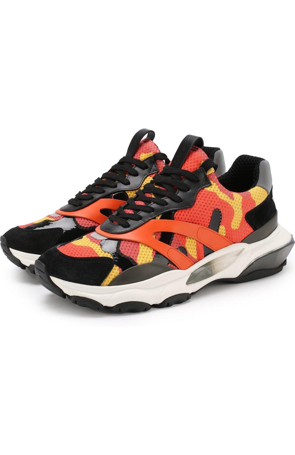 Мужские оранжевые текстильные кроссовки valentino garavani bounce ... c02d6ad67c5