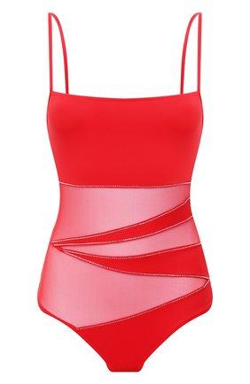 Слитный купальник с прозрачными вставками и стразами NATAYAKIM красный | Фото №1