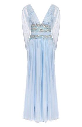 Шелковое платье-макси с V-образным вырезом и декоративной отделкой Zuhair Murad голубое | Фото №1