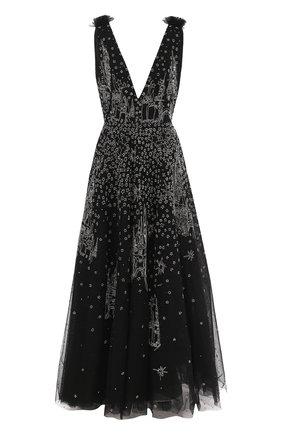 Шелковое платье-макси с V-образным вырезом и принтом Zuhair Murad черное | Фото №1