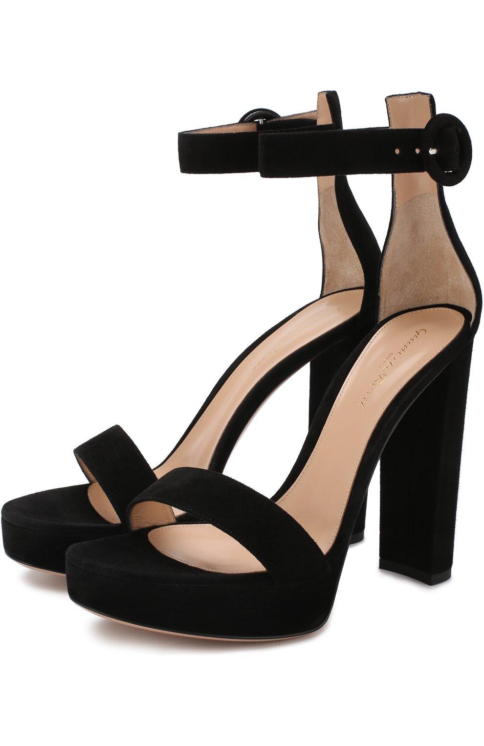 272d56cb9 Женские черные замшевые босоножки на устойчивом каблуке и платформе  GIANVITO ROSSI Италия 5274806 G61124.00RIC.CAMNER0 - купить - Цена В Рублях