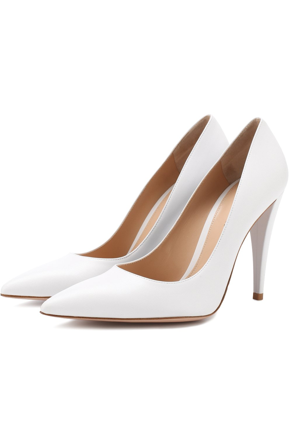 Кожаные туфли на устойчивом каблуке Gianvito Rossi белые | Фото №1