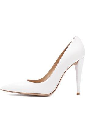 Кожаные туфли на устойчивом каблуке Gianvito Rossi белые | Фото №3