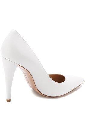 Кожаные туфли на устойчивом каблуке Gianvito Rossi белые | Фото №4