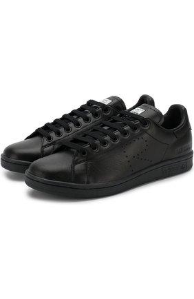Кожаные кеды Stan Smith на шнуровке adidas by Raf Simons черные | Фото №1