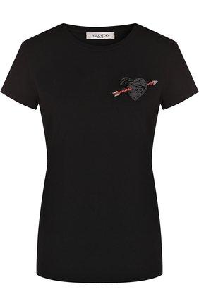 Хлопковая футболка с круглым вырезом и декорированной отделкой