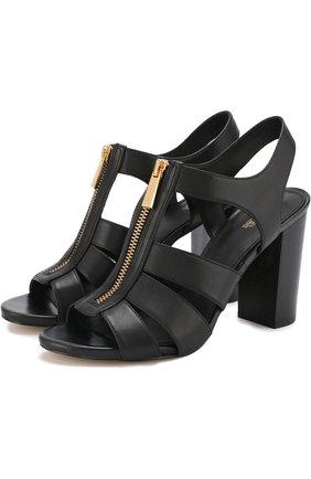 Кожаные босоножки Damita на устойчивом каблуке   Фото №1