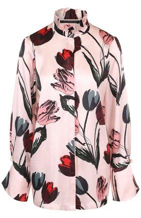 Шелковая блуза с воротником-стойкой и принтом | Фото №1