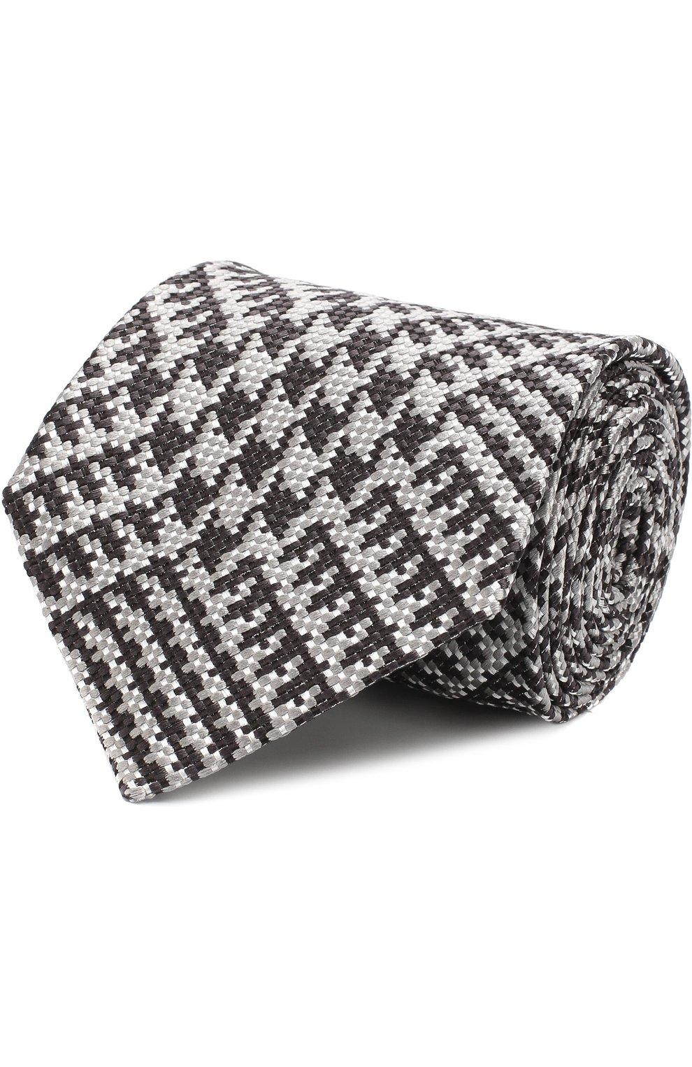 Мужской шелковый галстук TOM FORD серого цвета, арт. 3TF72/XTF   Фото 1