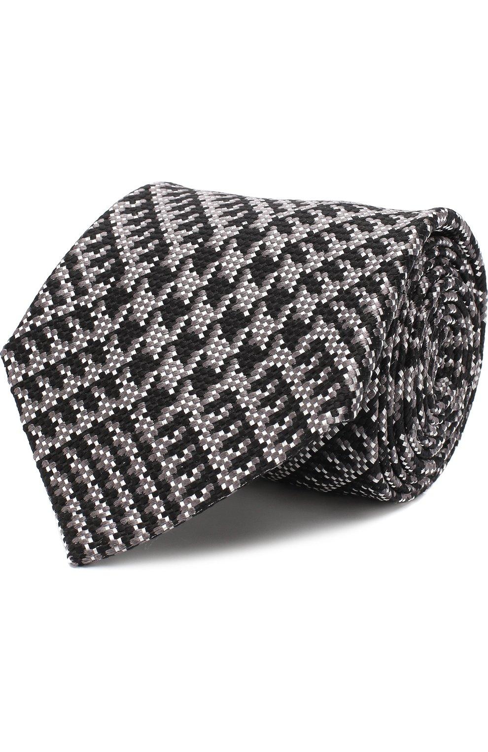 Мужской шелковый галстук TOM FORD темно-серого цвета, арт. 3TF72/XTF | Фото 1