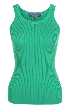Женская однотонный хлопковый топ фактурной вязки RALPH LAUREN зеленого цвета, арт. 290710192 | Фото 1