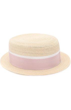 Соломенная шляпа Auguste с лентой Maison Michel бежевого цвета | Фото №1