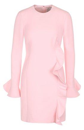 Однотонное мини-платье из смеси шерсти и шелка с оборкой | Фото №1