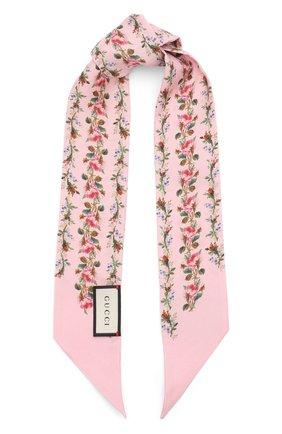 Шелковый шарф-бандо с цветочным принтом   Фото №1