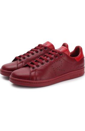 Кожаные кеды Stan Smith на шнуровке adidas by Raf Simons бордовые | Фото №1