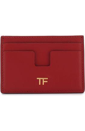 Кожаный футляр для кредитных карт Tom Ford красного цвета   Фото №1