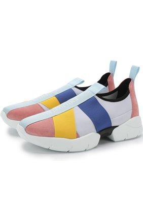Комбинированные кроссовки с эластичными лентами | Фото №1