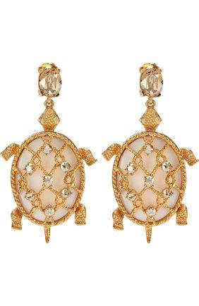 Женские серьги-клипсы с фигурными подвесками и отделкой кристаллами OSCAR DE LA RENTA золотого цвета, арт. P18J129CGS | Фото 1