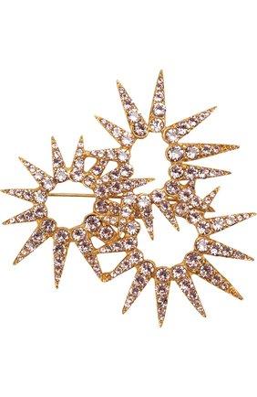брошь с отделкой кристаллами swarovski OSCAR DE LA RENTA золотого цвета, арт. P18J307VIN | Фото 1