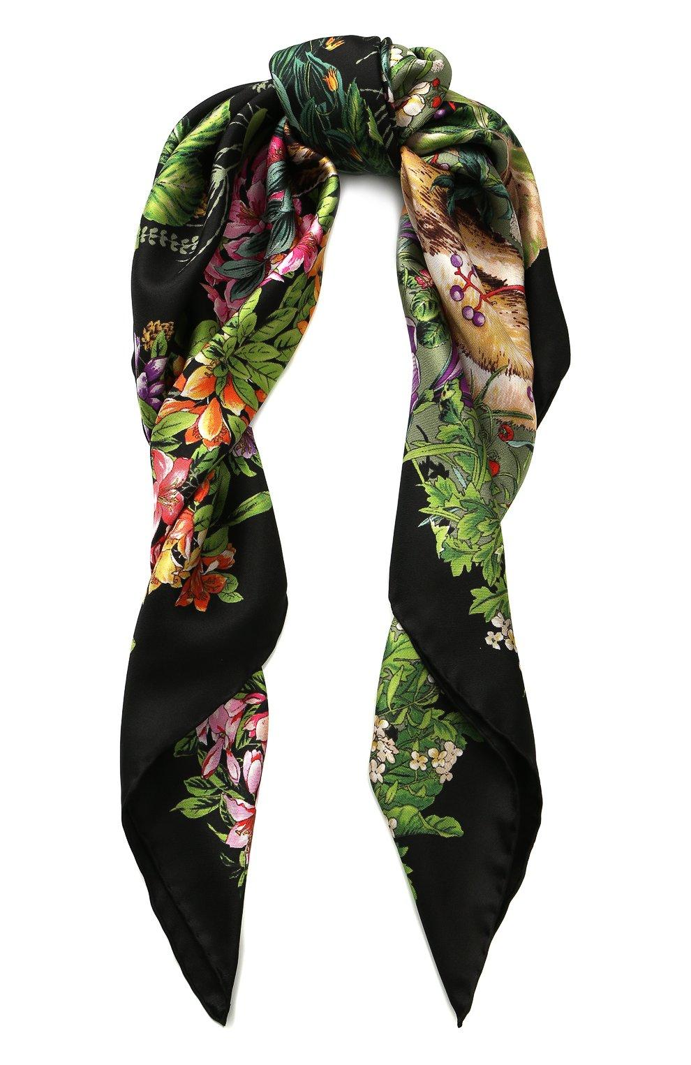 Женский шелковый платок с принтом GUCCI черного цвета, арт. 513229/3G001 | Фото 1