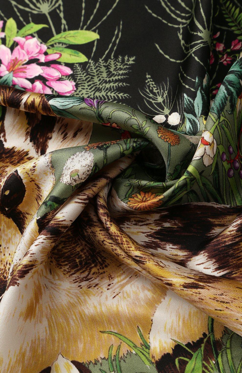 Женский шелковый платок с принтом GUCCI черного цвета, арт. 513229/3G001 | Фото 2