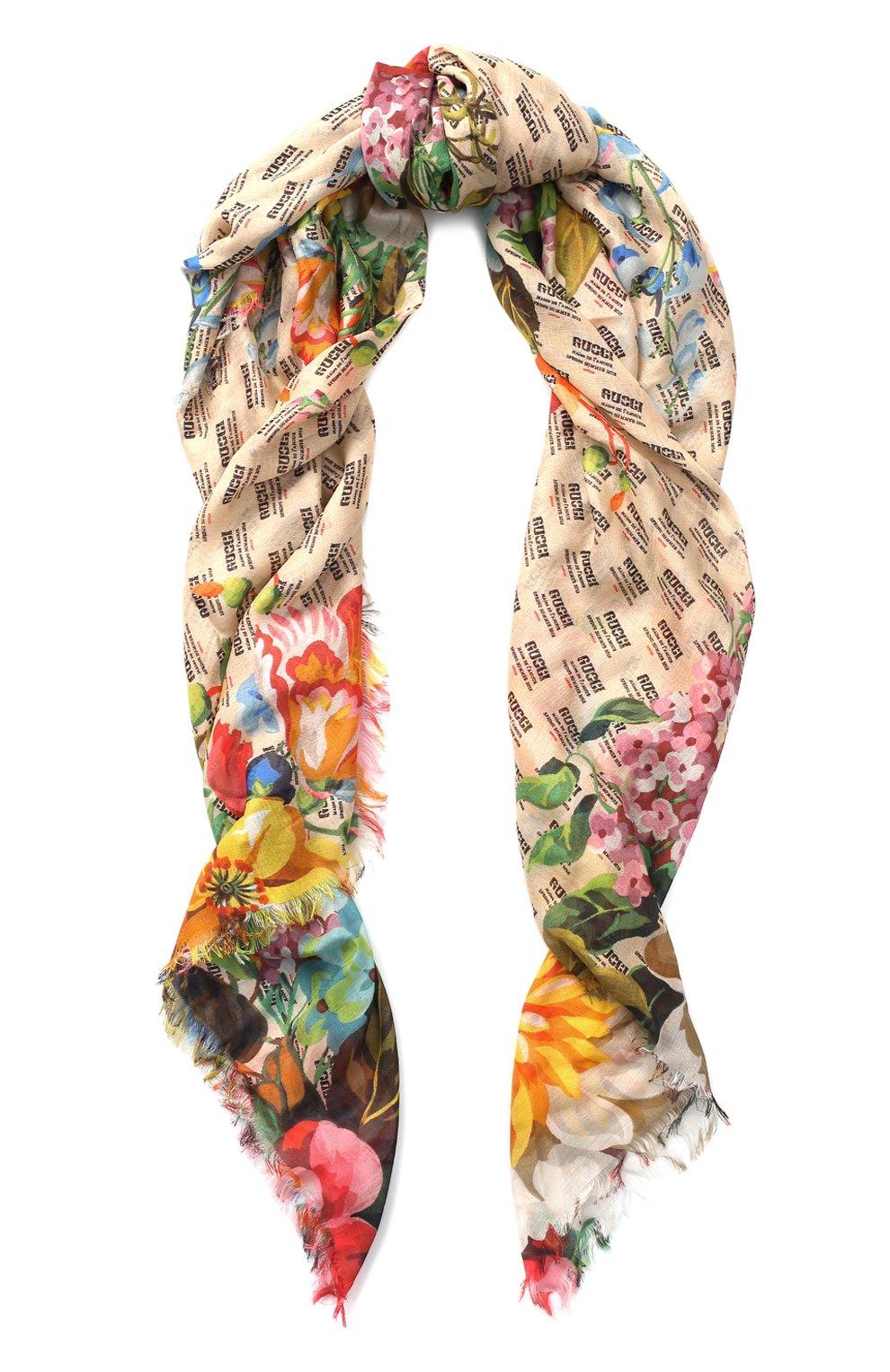 Женская шаль из смеси вискозы и шелка с принтом GUCCI кремвого цвета, арт. 519848/3G856 | Фото 1