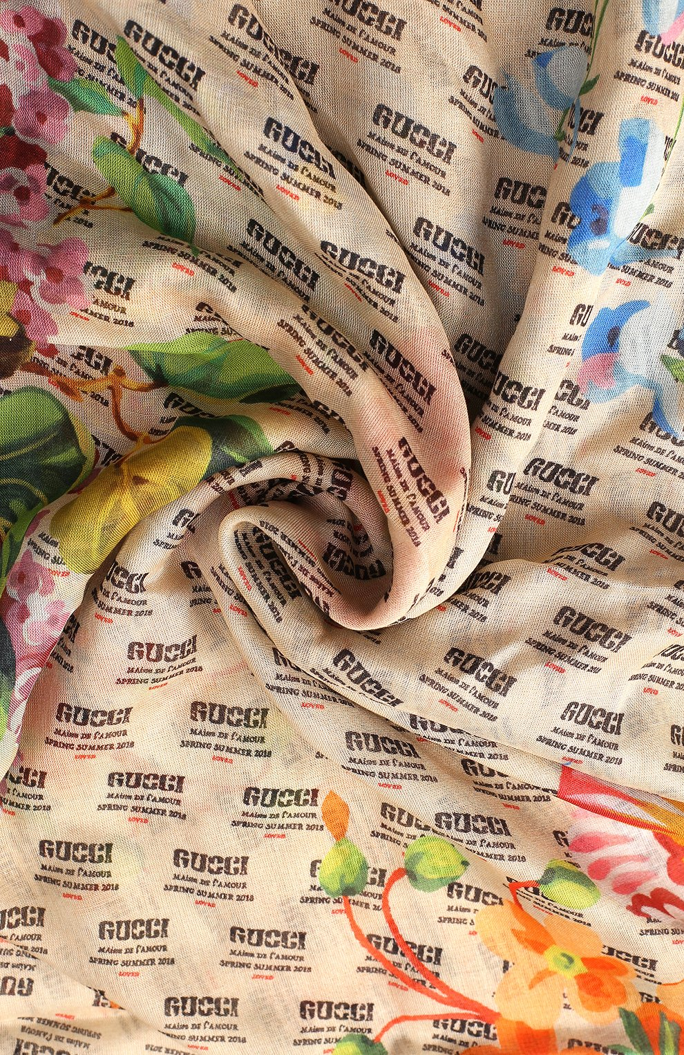 Женская шаль из смеси вискозы и шелка с принтом GUCCI кремвого цвета, арт. 519848/3G856 | Фото 2