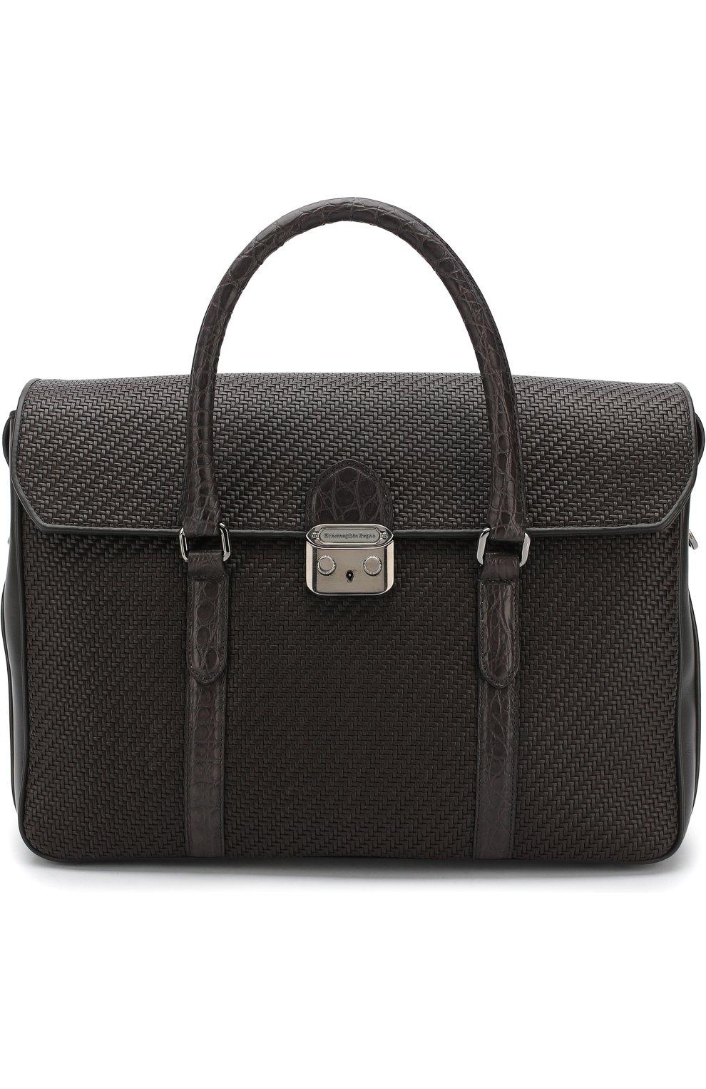 Кожаный портфель с клапаном с отделкой из кожи каймана | Фото №1