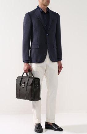 Кожаный портфель с клапаном с отделкой из кожи каймана Ermenegildo Zegna темно-коричневый | Фото №2