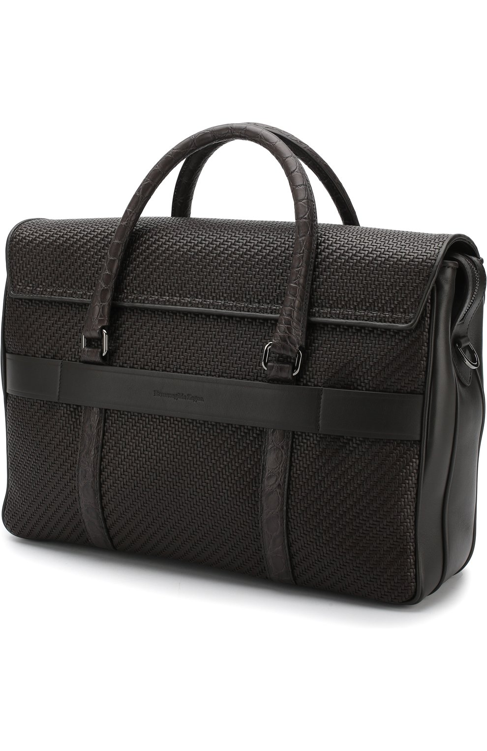 Кожаный портфель с клапаном с отделкой из кожи каймана Ermenegildo Zegna темно-коричневый | Фото №3