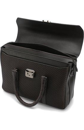 Кожаный портфель с клапаном с отделкой из кожи каймана Ermenegildo Zegna темно-коричневый | Фото №4