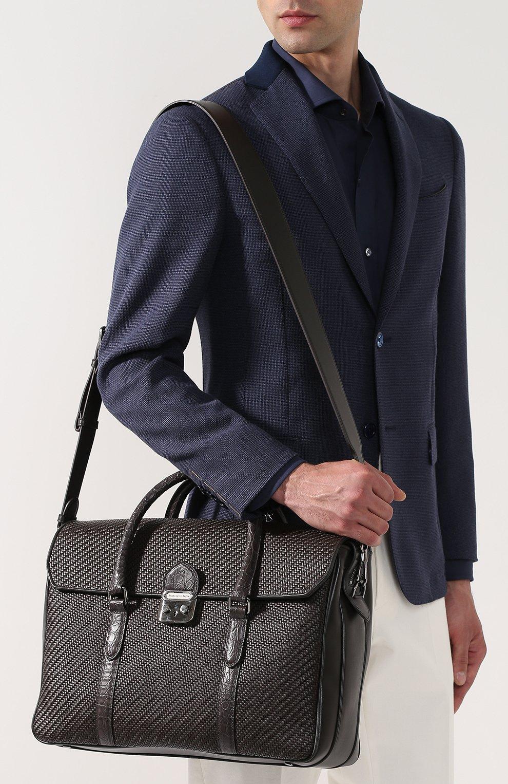Кожаный портфель с клапаном с отделкой из кожи каймана Ermenegildo Zegna темно-коричневый | Фото №5