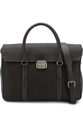 Кожаный портфель с клапаном с отделкой из кожи каймана Ermenegildo Zegna темно-коричневый | Фото №6