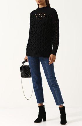 Вязаный пуловер из смеси шерсти и кашемира Oscar de la Renta черный | Фото №1