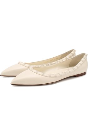 Женские кожаные балетки valentino garavani rockstud VALENTINO белого цвета, арт. QW1S0403/VB8 | Фото 1
