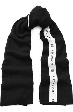 Шерстяной шарф с логотипом бренда   Фото №1