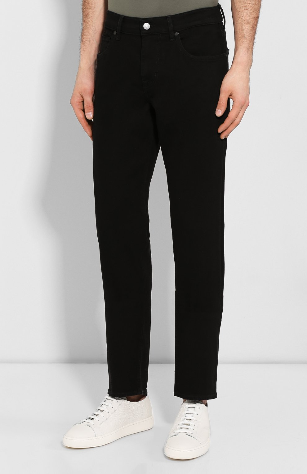 Мужские джинсы прямого кроя 7 FOR ALL MANKIND черного цвета, арт. JSMSR730PB | Фото 3