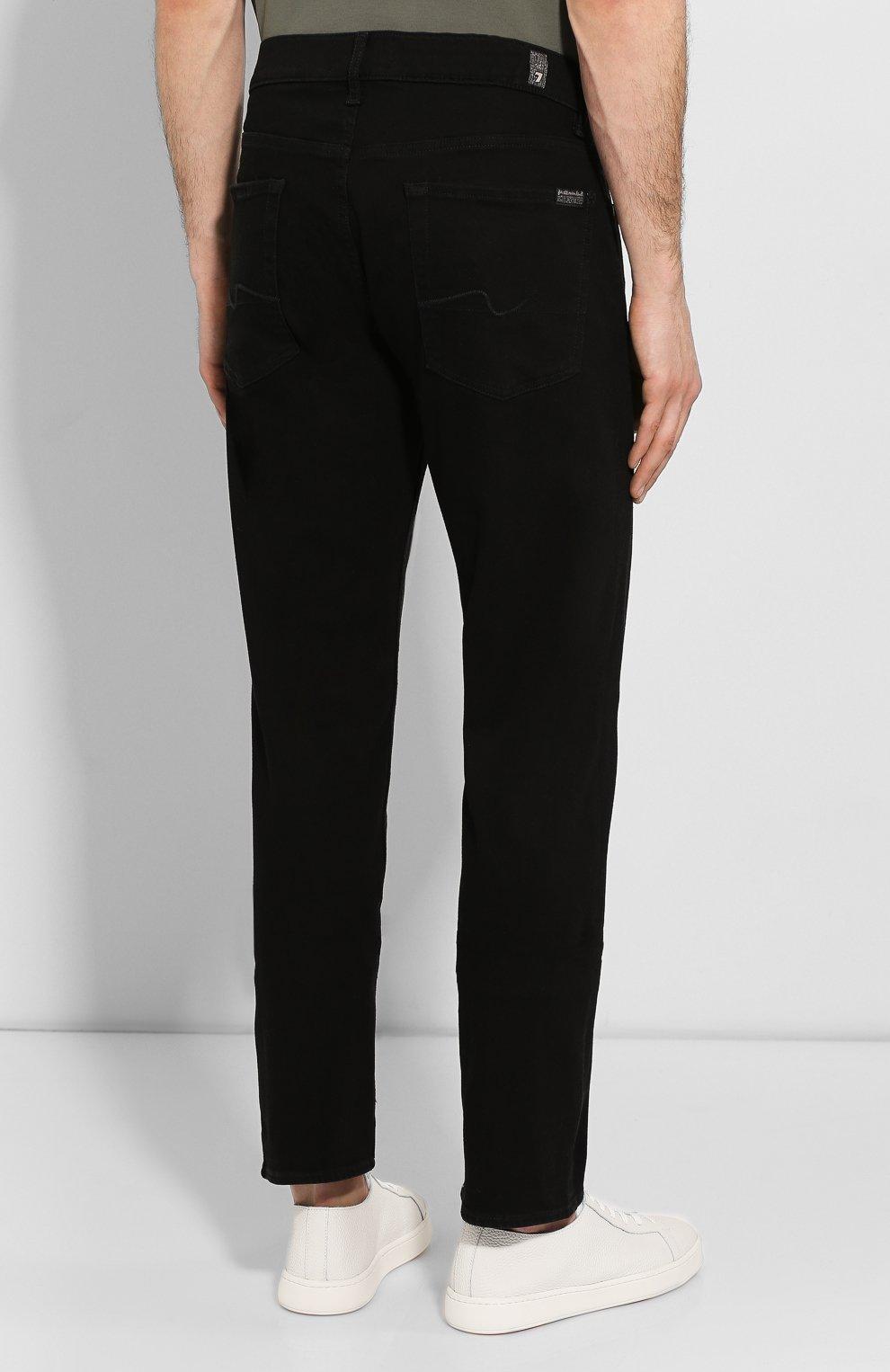 Мужские джинсы прямого кроя 7 FOR ALL MANKIND черного цвета, арт. JSMSR730PB | Фото 4