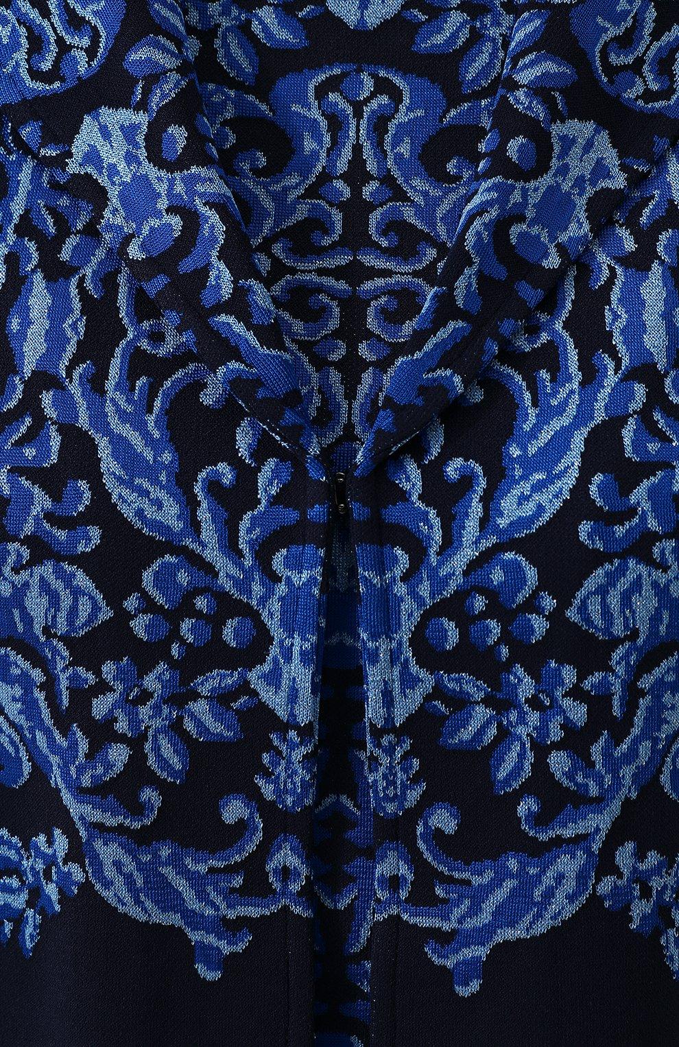 Накидка с контрастной вышивкой из вискозы St. John синяя | Фото №5