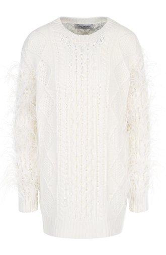 Шерстяной пуловер фактурной вязки с перьевой отделкой