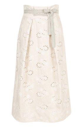 Льняная юбка-миди с поясом | Фото №1