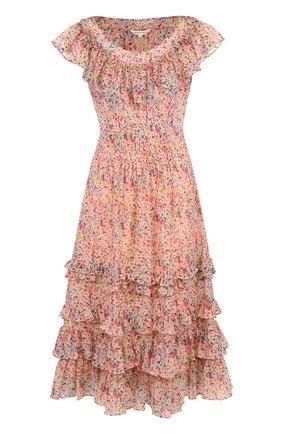 Платье из смеси хлопка и шелка и оборками и принтом | Фото №1