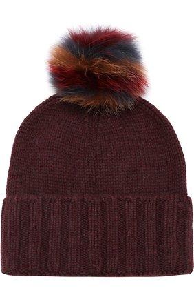 Женский кашемировая шапка funny fox hat с меховым помпоном LORO PIANA бордового цвета, арт. FAI2540 | Фото 2