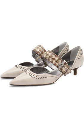 Кожаные туфли на каблуке kitten heel | Фото №1