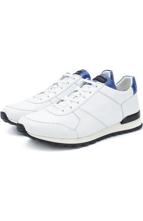 Кожаные кроссовки на шнуровке с отделкой из кожи крокодила Kiton белые | Фото №1