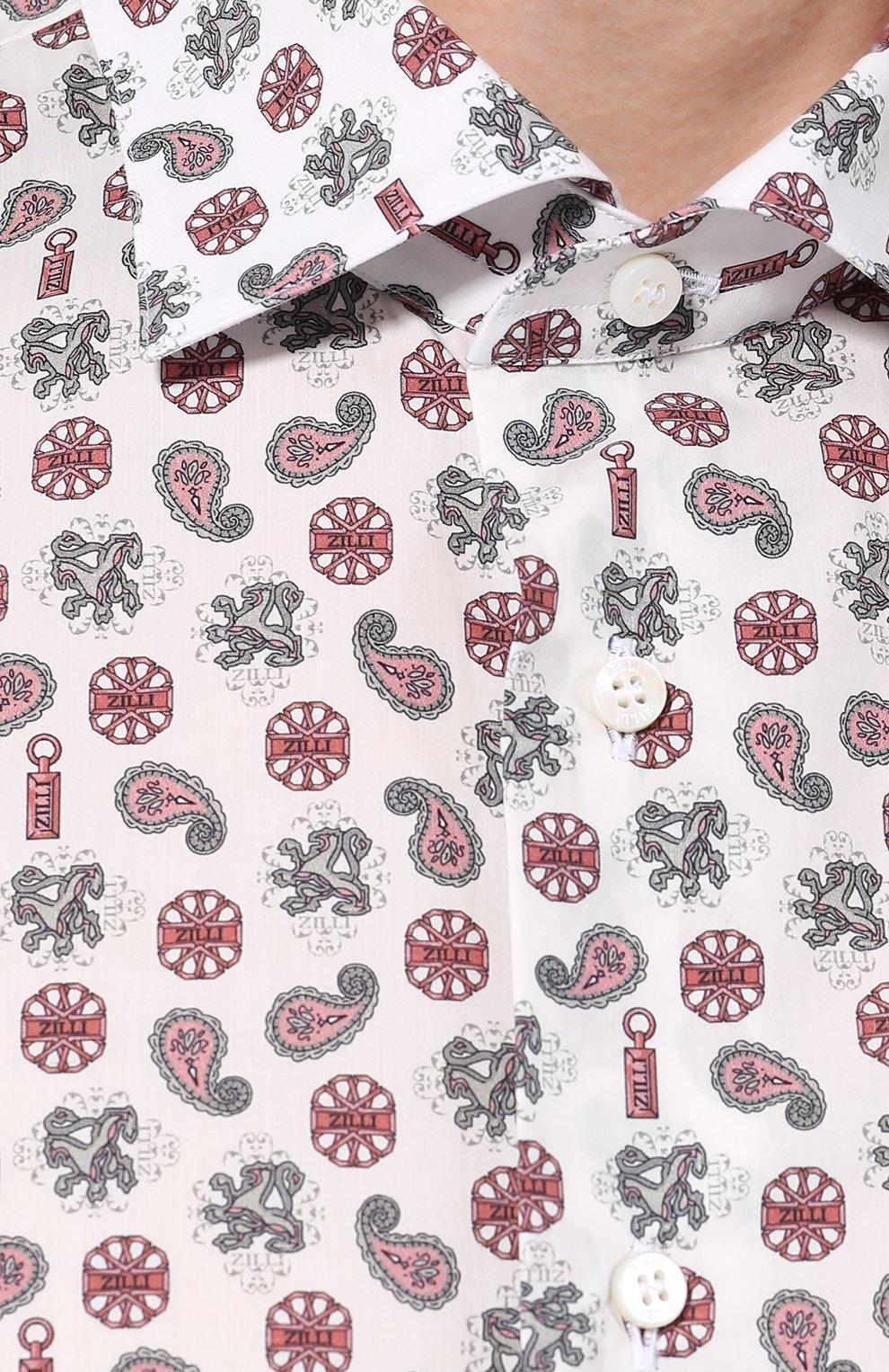 Мужская хлопковая сорочка с воротником кент ZILLI разноцветного цвета, арт. MFP-11104-54035/0003 | Фото 5