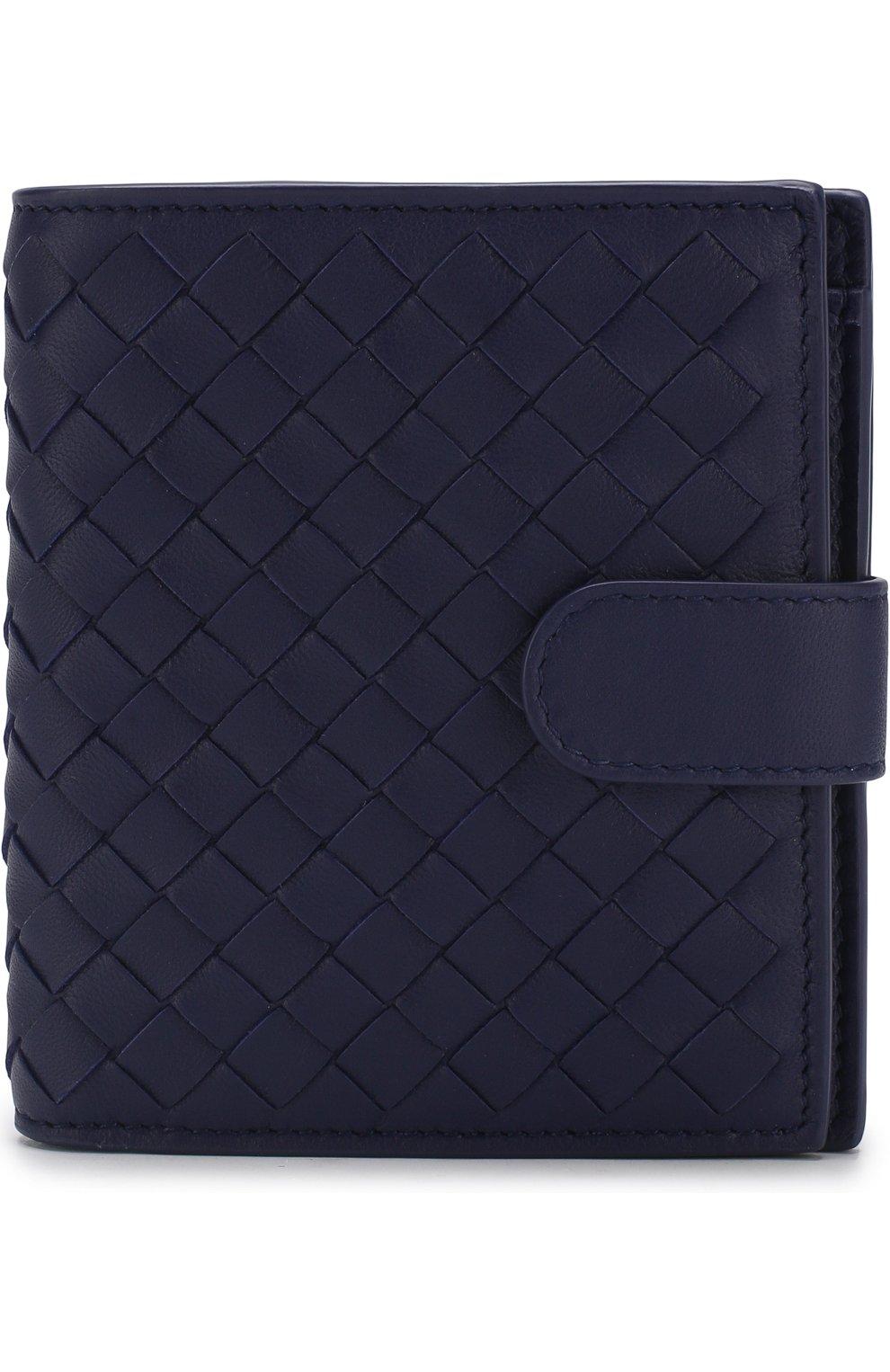 Кожаный кошелек с плетением intrecciato Bottega Veneta синего цвета | Фото №1