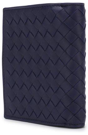 Кожаный кошелек с плетением intrecciato Bottega Veneta синего цвета | Фото №2